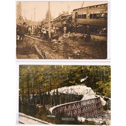 Couer d' Alene, Idaho; Trainwreck Real Photo Post card ; and S Bridge in winter  (119952)