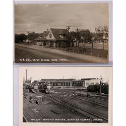 Two Glenns Ferry, Idaho Train Depot Real Photo Postcards (119553)