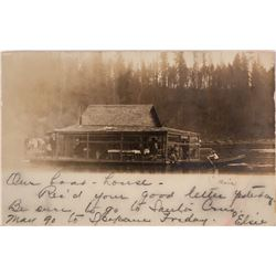 Hams, ID Real Post Card, House Boat Floating on River (119559)