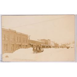 Troy Idaho, Real photo postcard, Main Street Winter  (117983)