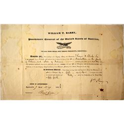 Postmaster Appointment Certificate, Manhattan, Indiana  (84440)