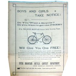 Daily Inter Mountain Full Page Bicycle Ad, Butte, Montana, 1894  (86431)