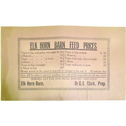 Elk Horn Barn Feed Original Broadside  (85154)