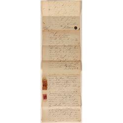 1865 Lander County, Nevada Document with Rare Nevada Revenue Stamps  (113265)