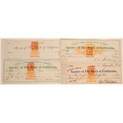 Four Virginia City, Nevada Mining Checks w/ Rare Red Nevada RN  (113332)