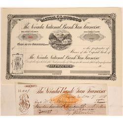 Rare Nevada National Bank of San Francisco Stock & Revenue Check  (113339)