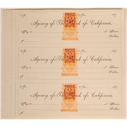 Uncut Sheet of Virginia City Checks w/ Ultra-rare Imprinted Revenues (113331)