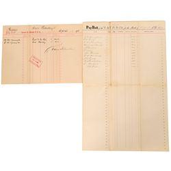 Virginia & Truckee Railroad and Carson & Colorado RR Pay Rolls For DO Mills, Yerington (113340)