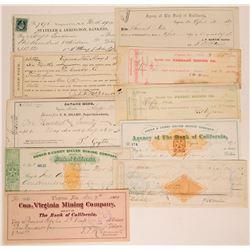 Virginia City, Nevada Mining Check Collection incl. Territorial  (113334)