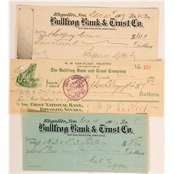 Three Different Rare Rhyolite Checks (Nye County Ghost Town)  (113333)