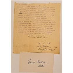Signed Letter from Anarchist Author Emma Goldman to Pianist Anton Rovinsky  (117337)