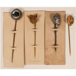 Aesthetic Period Animal Head Stick Pins  (Lot of 4)  (120045)
