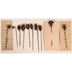 Art Nouveau Style Stick Pins with Faceted Stones (Lot of 10 pins)  (120039)