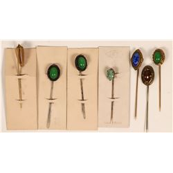 Cabachon Elipse Stone Stick Pins (Lots of 7)  (120048)