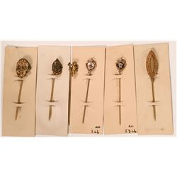 Vintage Gold-Tone Stick Pins in the Style of the  Late Victorian Period (Lot of 6 pins)  (120040)