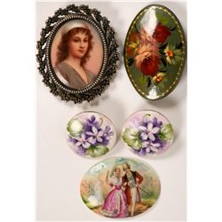 Hand Painted Enamel Brooches, Earrings  (119200)