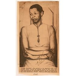 Autographed Ethel Waters Newspaper Clipping of Portrait by Luigi Lucioni  (118876)