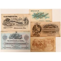 Five Lithographers Printers' Proofs Business Cards & Advertisements  (118086)