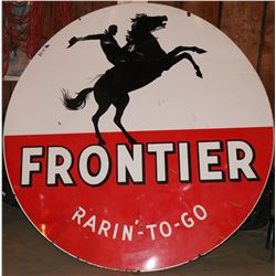 "Frontier Gasoline ""Rarin'-To-Go"" Large (6 foot)  Enamel  Cowboy Sign - Rare!  (108313)"