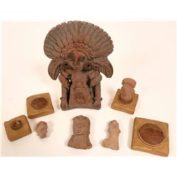 Mayan/Aztec Terra Cotta  Pottery Artifacts (5 Items)  (117742)