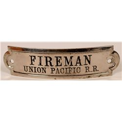 Union Pacific Railroad Fireman Cap Badge  (107897)