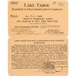 Lake Tahoe Railway & Transportation Co. Annual Pass  (113290)
