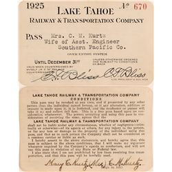 Lake Tahoe Railway & Transportation Co. Annual Pass  (113289)