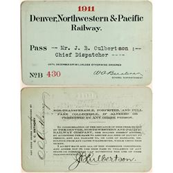 Denver, Northwestern & Pacific Railway Annual Pass  (113300)
