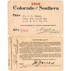 Colorado & Southern Railway Annual Pass  (113296)