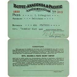 Butte, Anaconda & Pacific Railway Company Annual Pass  (113293)