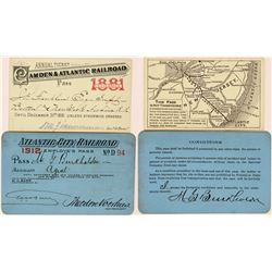 Two Different Atlantic City Railroad Passes (One w/ Map)  (113318)