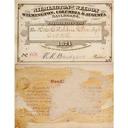 Rail Pass for Wilmington & Weldon / Wilmington, Columbia, & Augusta Railroad, 1874  (59937)