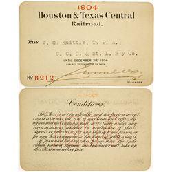 Houston & Texas Central Railroad Railway Pass  (91244)