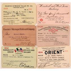 Six Different Texas Railroad Passes  (113326)
