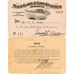 Salt Lake & Los Angeles Railway Co. Annual Pass  (113311)