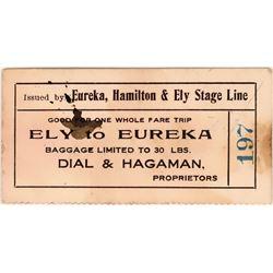 Eureka, Hamilton & Ely Stage Line Stagecoach Ticket  (119138)