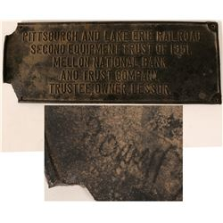 Antique Railroad Hardware: Pittsburgh and Lake Erie Railroad Brass Plate  (110898)
