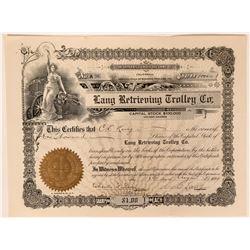 Lang Retrieving Trolley Co Stock Certificate, Petaluma, Cal. 1909  (111792)