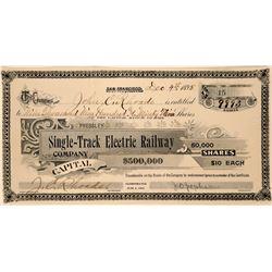 Pressley Single-Track Electric Railway Co Stock, San Francisco, 1895  (111758)