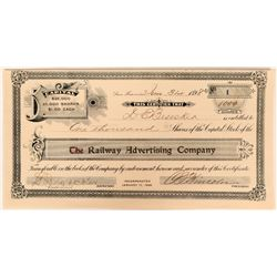The Railway Advertising Co Stock Certificate #1, San Francisco, Cal. 1898  (111791)