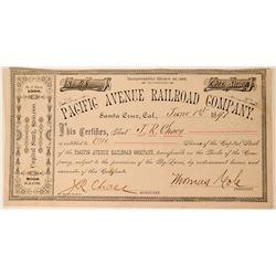 Pacific Avenue Railroad Co Stock, Santa Cruz, California, 1891  (111760)