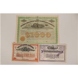 Two Colorado RR Stocks and a RR Bond  (117225)