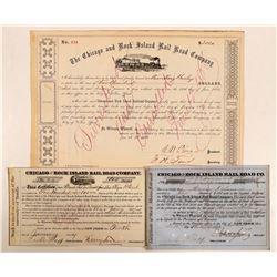 Chicago & Rock Island Rail Road Co Certificates, 3 Signature Pieces  (111110)