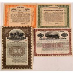 Chicago, Peoria & St. Louis Railroad Co Bonds (2) Plus Two Unknown Stock Trust Certificates  (111219