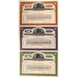 Chicago, Rock Island & Pacific Railway Co SPECIMEN Certificates, (3)  (111148)