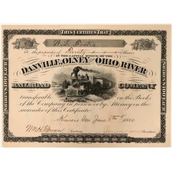 Danville, Olney and Ohio River Railroad Company Stock Certificate, 1880  (110316)