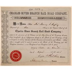 Charles River Branch Rail Road Co, 1853 Stock, Rare Uncancelled Example  (111260)