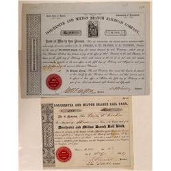 Dorchester & Milton Branch Rail Road Co 1848 Stock and 1858 Bond  (111277)