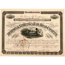 Stock certificate in the Atcheson & Nebraska Railroad Company  (110535)