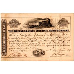 Buffalo & State Line Rail Road Co Stock Certificate, 1857  (111105)